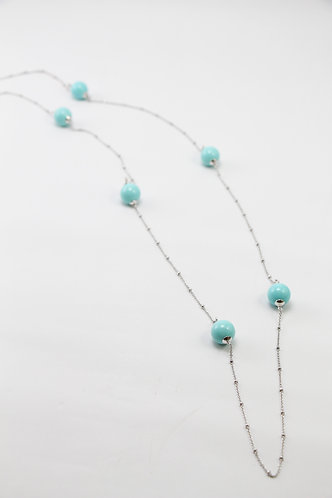 The Pinnacles Collection - Blue Shell Pearl Beads Long Necklace