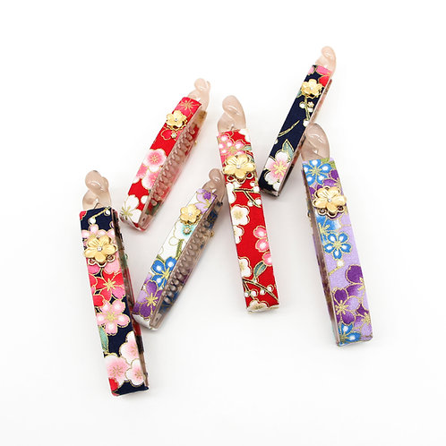 Haru Collection: Large Lucy Banana Clip with Gold-plated Sakura