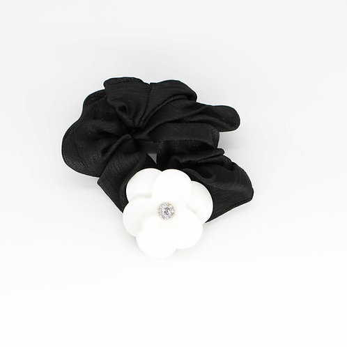 Scrunchie with Large Camellia and Swarovski Crystals