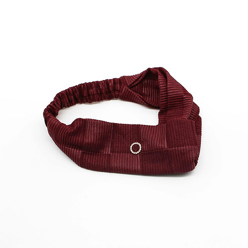 Chequered-Pleated Head Band with Cubic Zirconia Ring