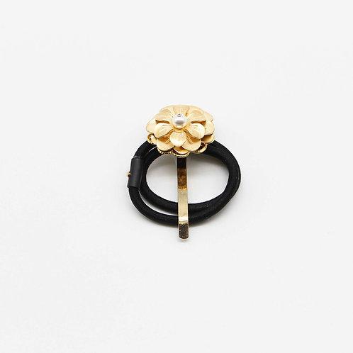Gold-plated Flower 2-Piece Hair Tie