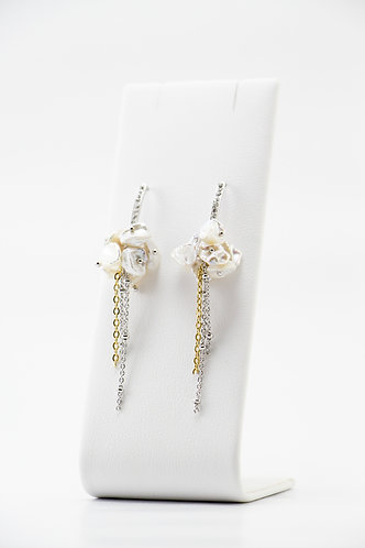 The Pinnacles Collection - Clustered Keshi Pearl Dangling Earrings