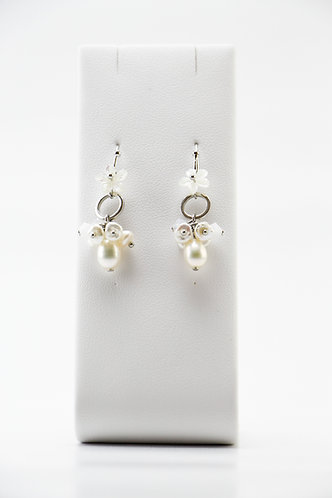 The Pinnacles Collection - Cultured and Keshi Pearls with Carved Flower Earrings