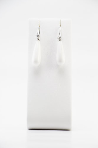 The Pinnacles Collection - White Agate Long-Teardrop Earrings