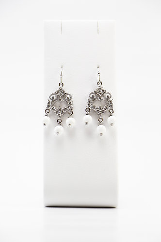 The Pinnacles Collection - White Jade Chandelier Earrings