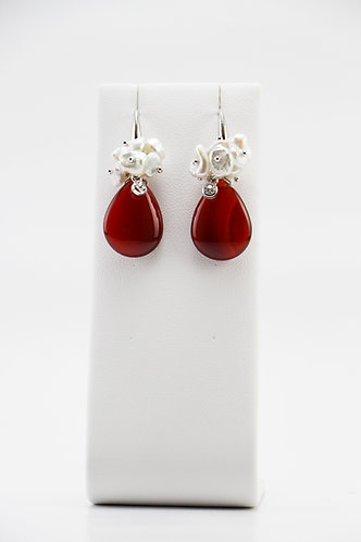 The Pinnacles Collection - Red Agate Petal Earrings