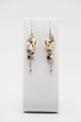 The Pinnacles Collection - Golden Shadow Crystal & Pearls Earrings