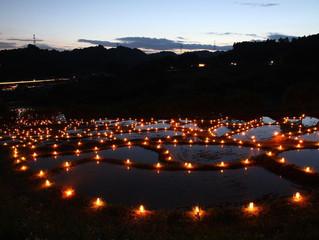棚田に揺らめく千の灯火