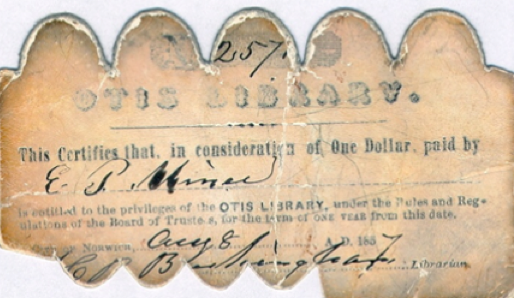 Otis Library Card 1857