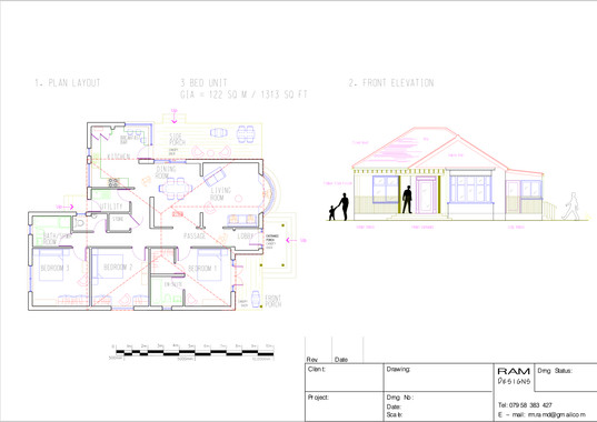 RESIDENTIAL UNIT 3 BED - 2D DRAWING