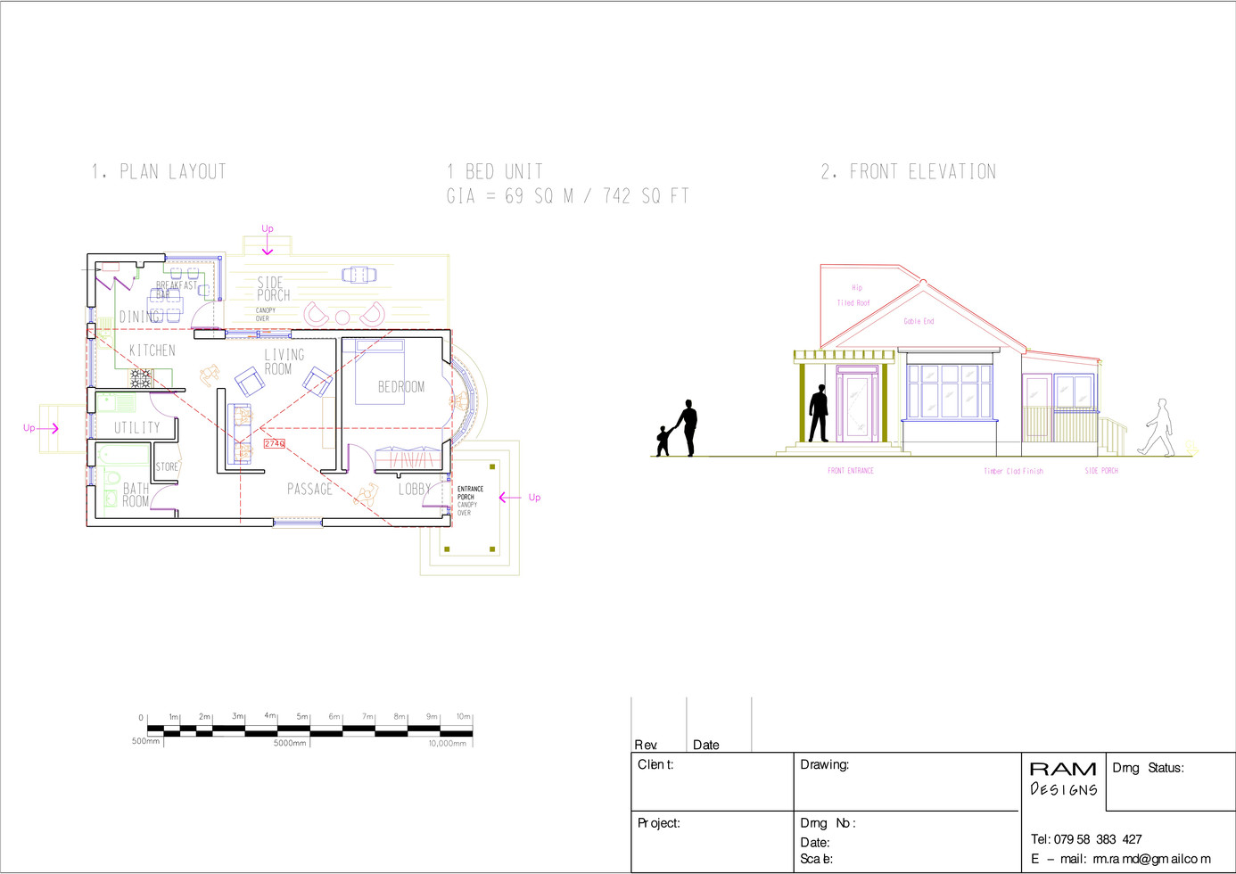 RESIDENTIAL UNIT 1 BED - 2D DRAWING