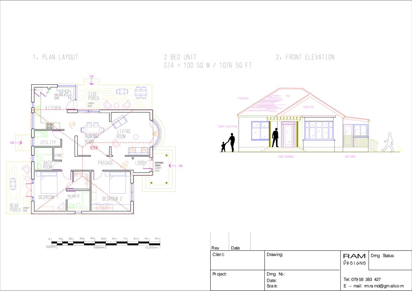 RESIDENTIAL UNIT 2 BED - 2D DRAWING