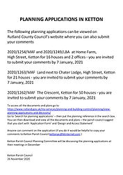 PLANNING APPLICATIONS IN KETTON - NOTICE