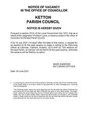 Notice of Vacancy - Ketton - A Lyons - 1