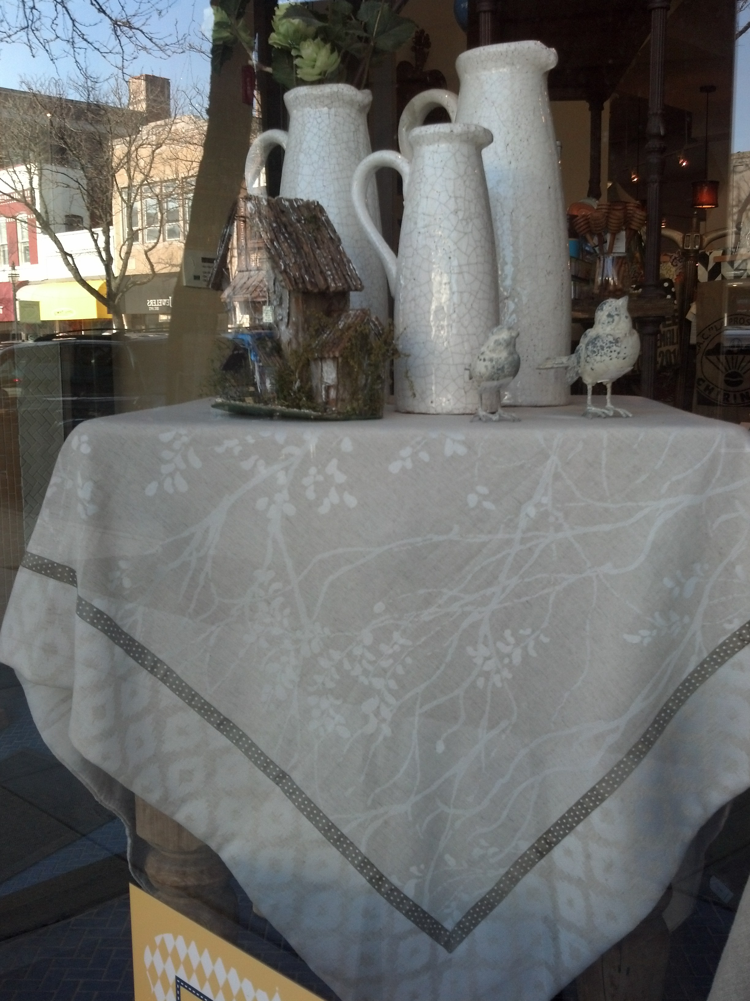 Gray and White Table Topper