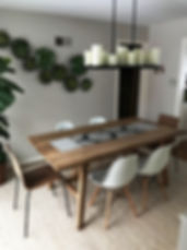 Dining Room Tablescape with Table Runne in gray