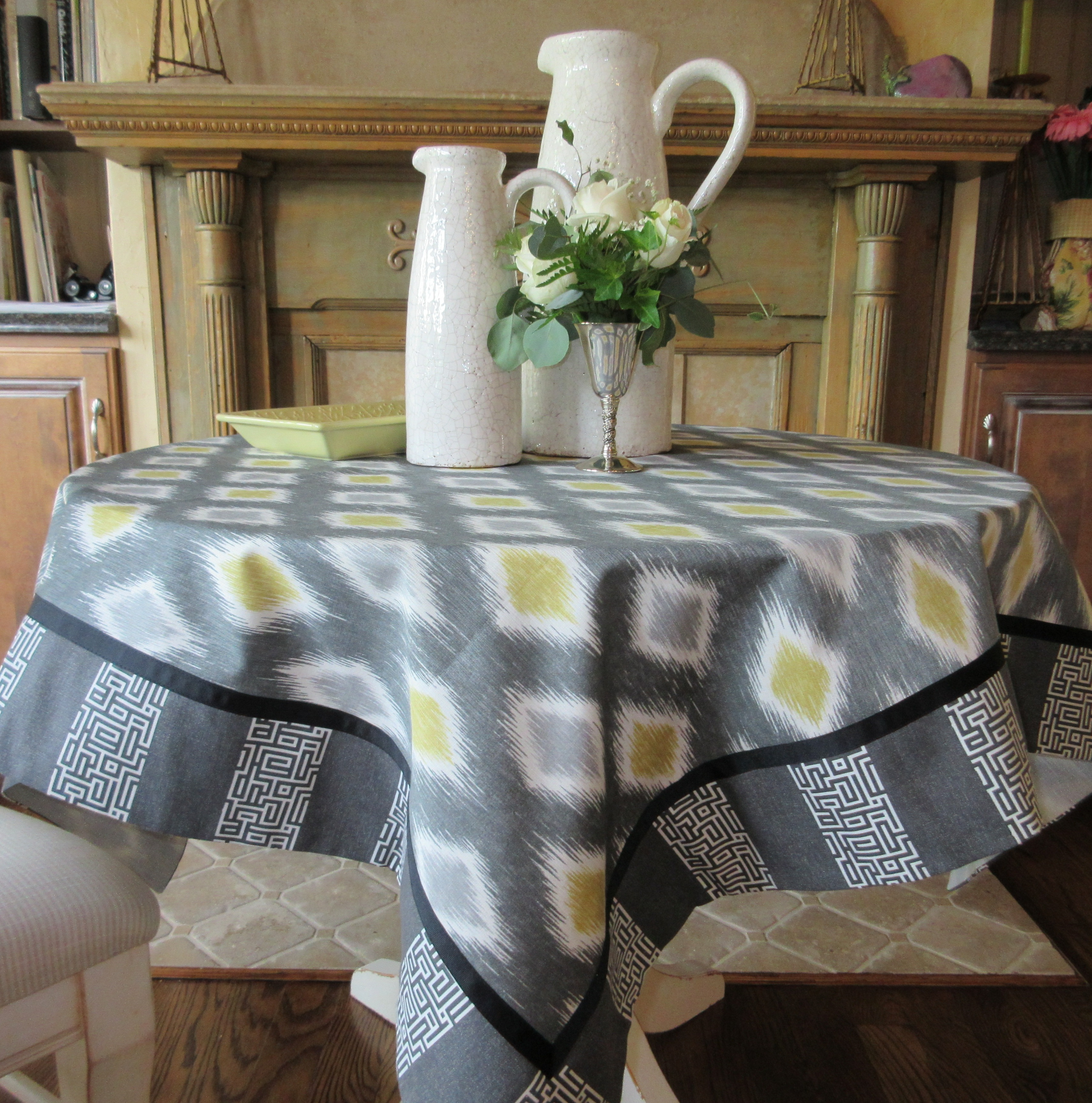 Gray and Yellow Table Topper