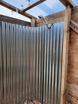 Inside a shower shack