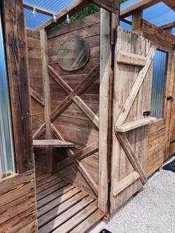 Inside the shower shack