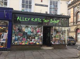 Alleykatz toy shop shop front in Bridgnorh, Shropshire