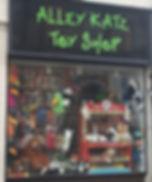 Looking out of Alleykatz toyshop door in Bridgnorth, Shropshire