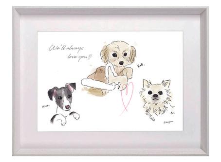 贈り物や自分用に愛犬のイラストを^^♪【犬 イラスト 水彩画タッチ】