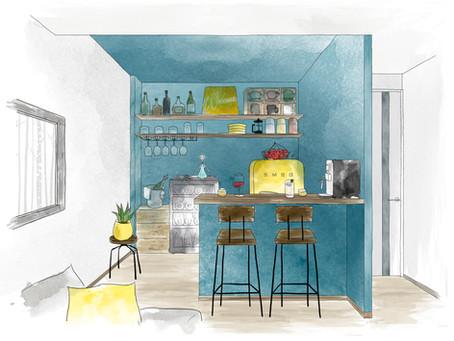 マンションのお部屋やインテリアのイラストを描く。〜 PrivateBar編 〜@ソシオ大手町 新築 マンション【イラスト】