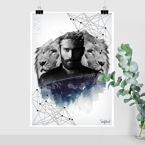 Løve Mand (50x70 med tekst)