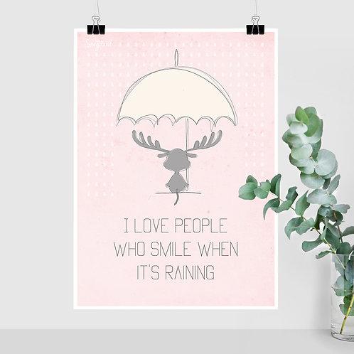 I love people - Rosa A4, A3 og 50x70