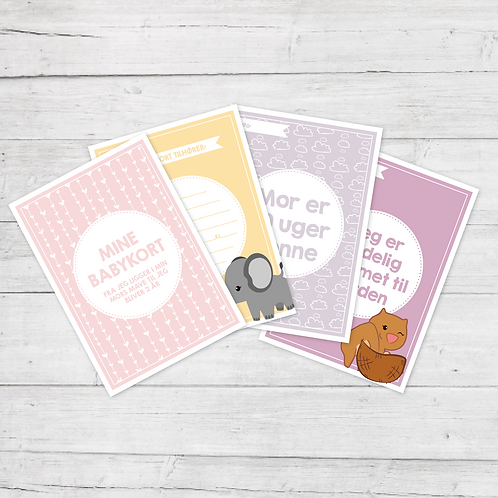 Mine Babykort - Pige (50 kort)