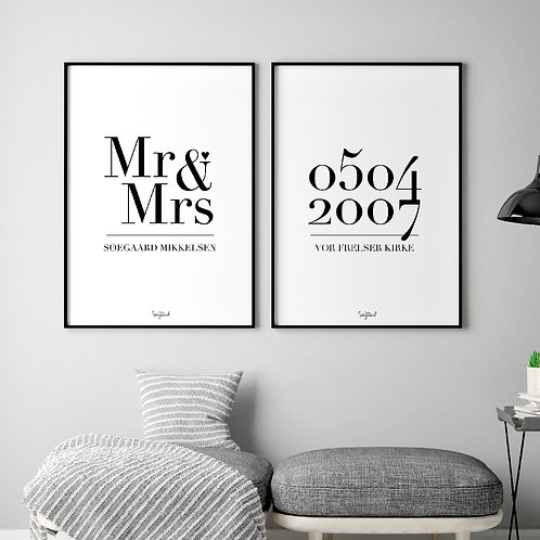 Mr & Mrs plakat A3