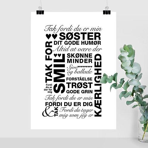 Tak Søster - Sort - A4 og A3