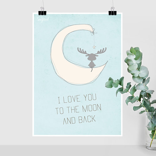 I love you to the moon, Blå - A4, A3