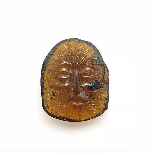 Amber Green Man Carving (AMB241)