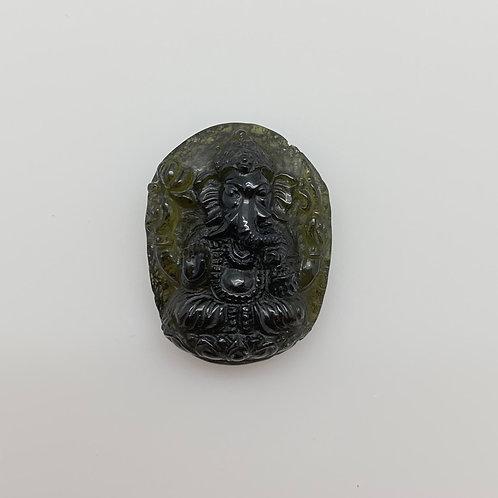 Moldavite Ganesha Carving (MEC127)