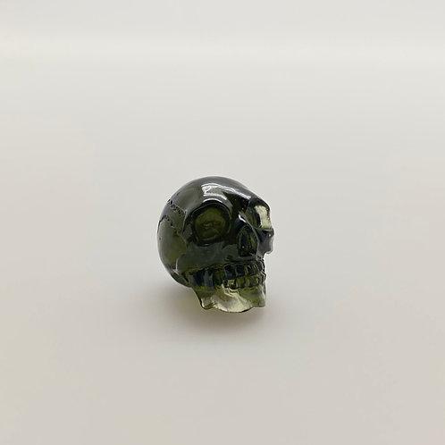 Moldavite Skull Carving (MEC121)