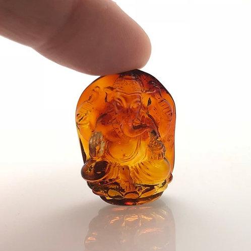 Amber Ganesha Carving (AMB213)