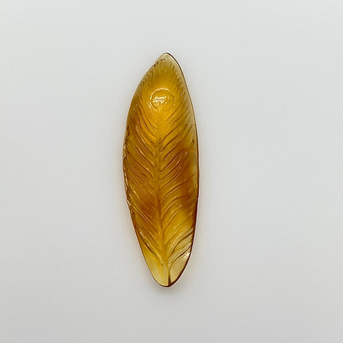 Amber Peacock Feather Carving (AMB247)