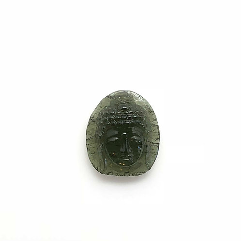 Moldavite Buddha Head Carving (MEC109)