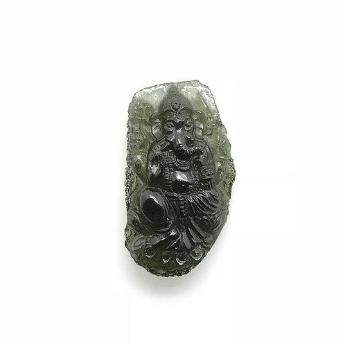 Moldavite Ganesha Carving (MEC111)