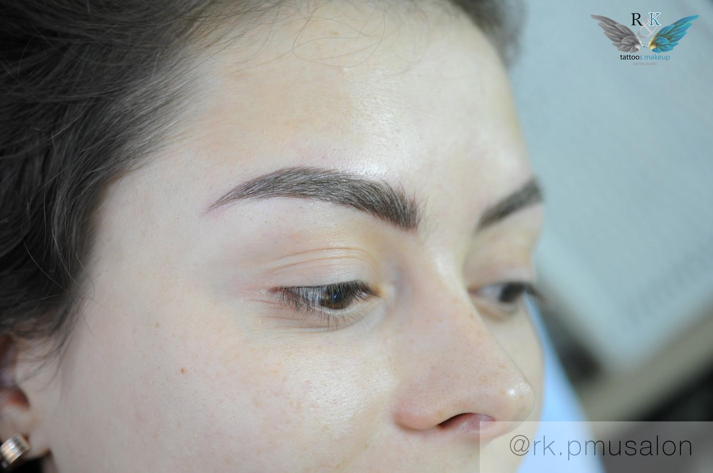 Перманентный макияж бровей в Объемной технике. Микроблейдинг бровей и Напыление.