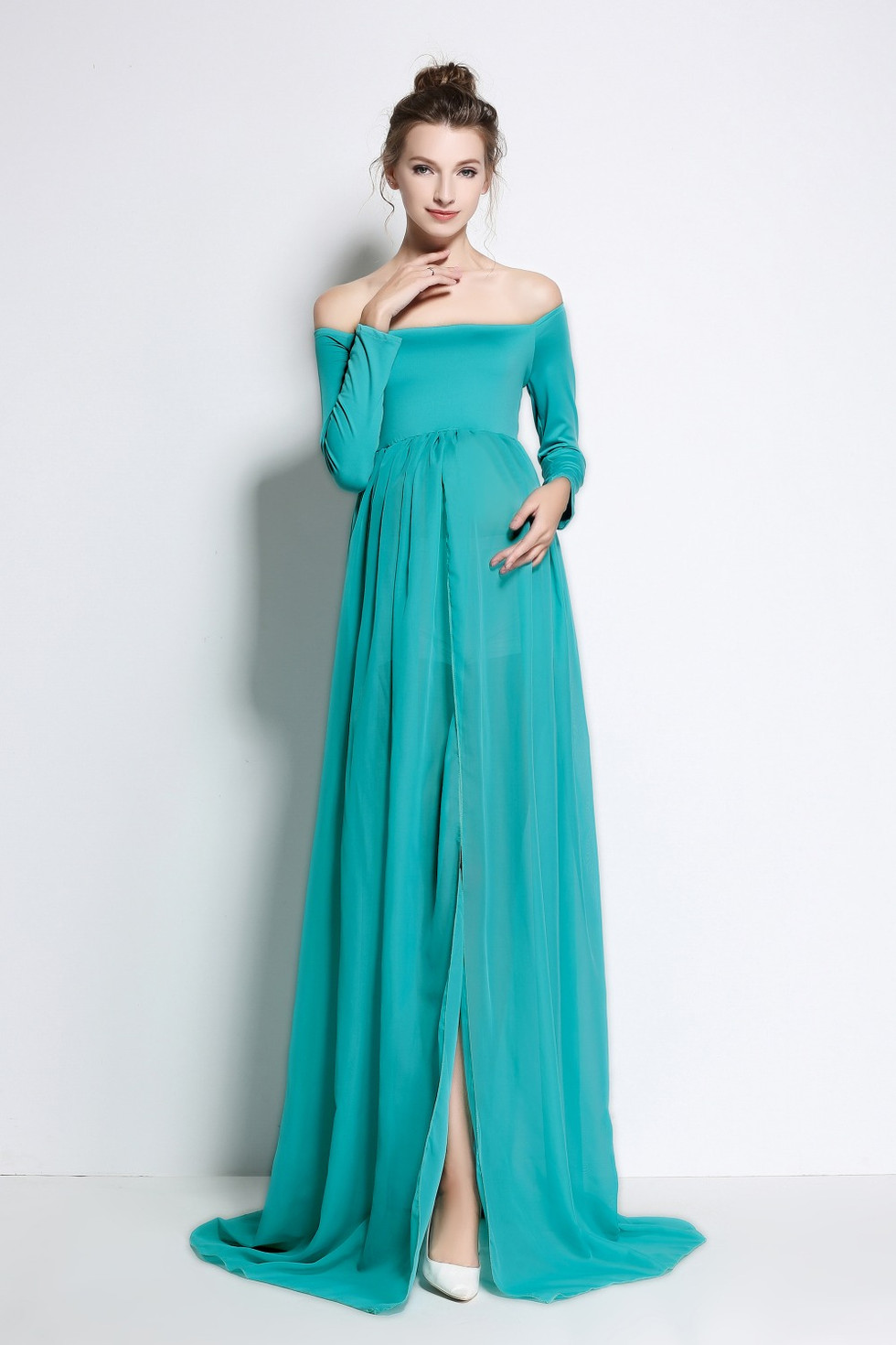 Large Teal Sheer Gown - Open in front.
