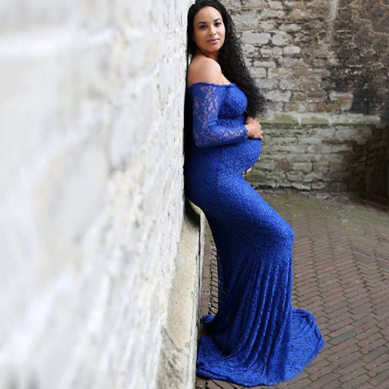 Blue Lace Full Sleeve Stretch Gown