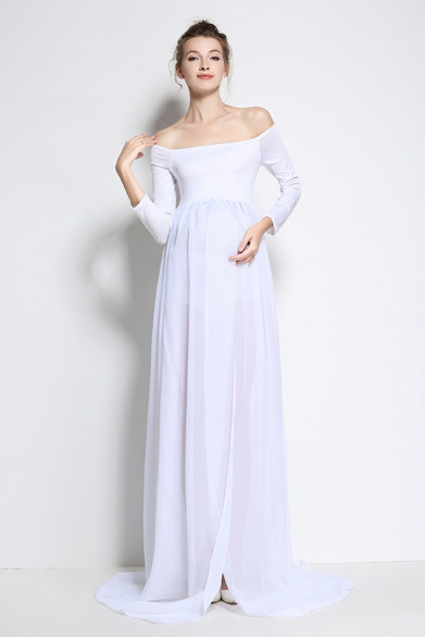 Large White Sheer Gown - Open in front.