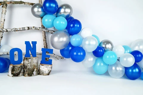 Blue & Silver Balloons 1st Birthday Drop