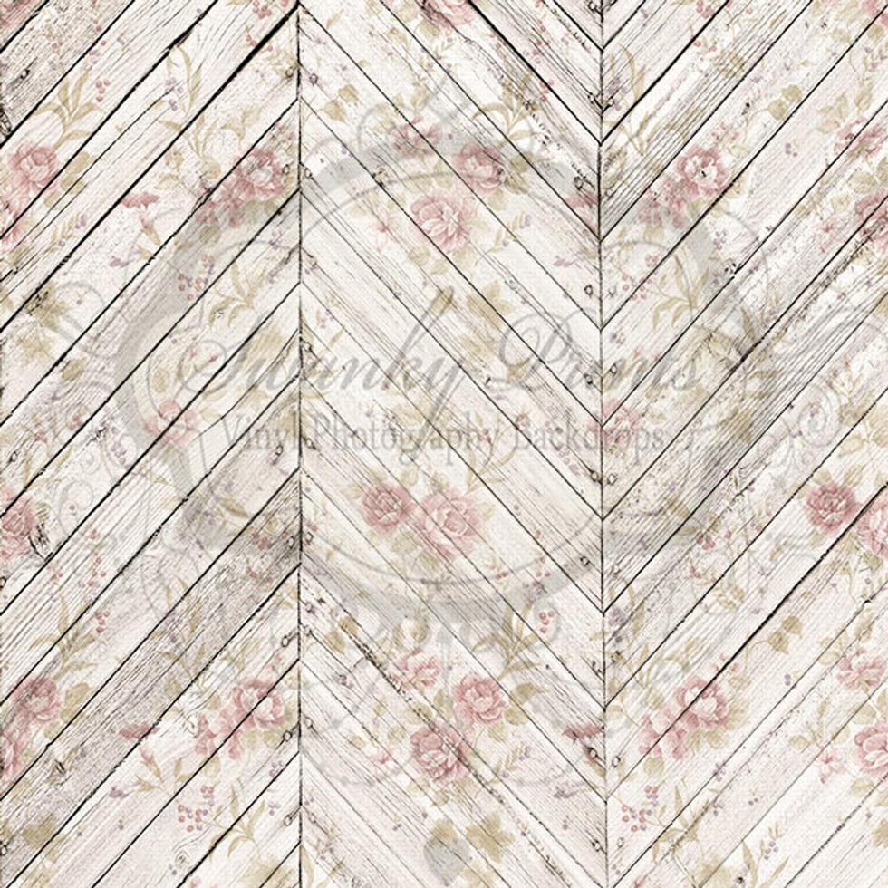 Herringbone Wood Vintage Floral Drop