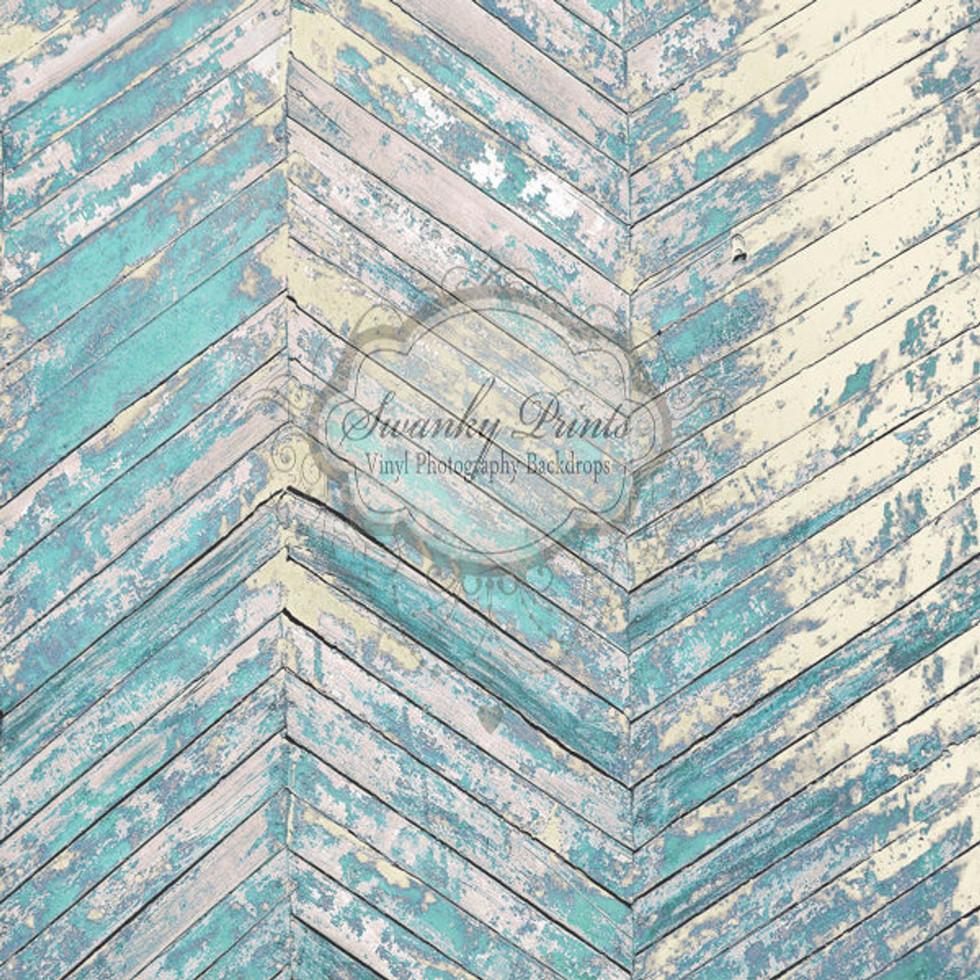 Teal Herringbone Wood Drop