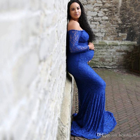 Blue Full Sleeve Gown - Stretchy