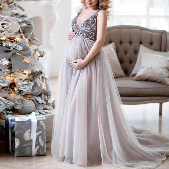 Silver Sequin Gown - Fitted