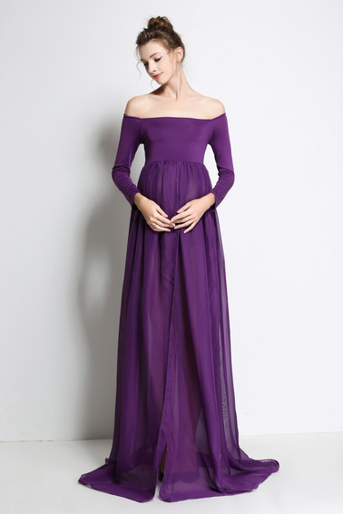 Purple Sheer Gown - Opens in front.